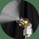 Dit is de revolutionaire nozzle van Reldair welke in onze mist- en nevelsystemen gebruikt wordt.